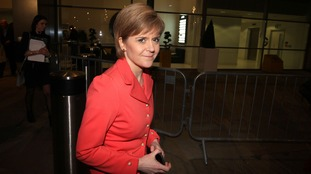First Minister Nicola Sturgeon leaves the ITV Studios at MediaCityUK in Salford Quays.