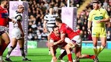 Hull Kingston Rovers' Shaun Lunt celebrates his try against Hull FC, during the First Utility Super League match at the KC Stadium, Hull.