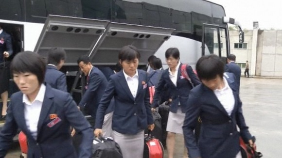 North Korea's Olympics team heads for London