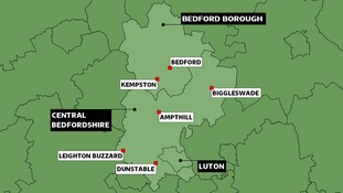 Map of Bedfordshire councils