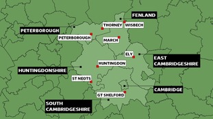 Map of Cambridgeshire councils