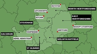 Map of Hertfordshire councils