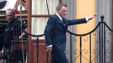 Daniel Craig during filming for the new James Bond film in Mexico City