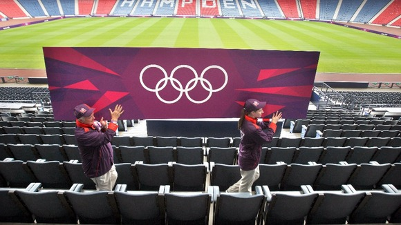 Olympic staff at Hampden Park, Glasgow.