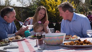 David Cameron attended a BBQ on the campaign trail.