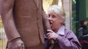 Hungry shoppers nibble and lick chocolate statue of Benedict Cumberbatch
