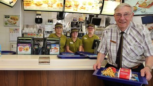 Great grandfather and Second World War veteran Bill Dudley started working at McDonald's when he got bored at home nine years ago.