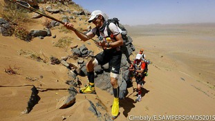 Blind Dave Heeley on Day 3 of the Marathon Des Sables in the Moroccan Sahara