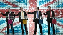 The video presents Farage, Clegg, Cameron and Miliband as boy band singers.