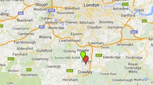 Red dot is the oil site, green is Gatwick Airport