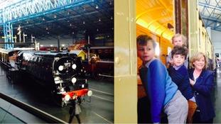 Winston Churchill's family visit his funeral train in York