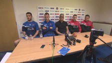 Curle took the unusual step of bringing players and coaches to the press conference.