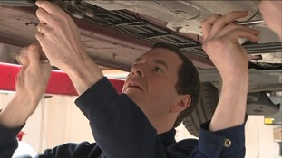 The Chancellor visited a mechanic's shop in St Austell this morning