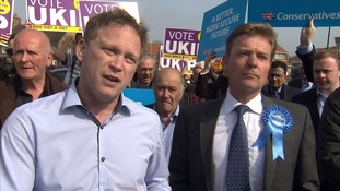 Tory chairman Grant Shapps ambushed by Ukip supporters.