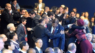Qatar delegates celebrate winning the 2022 FIFA World Cup bid