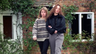 Mrs Brown's daughters, Roxanne and Zara, shortly after the murder