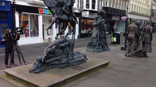 The statues in Westgate Square, Newport