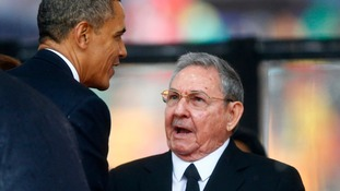 President Obama briefly met Raul Castro briefly at the funeral of Nelson Mandela in December 2013.
