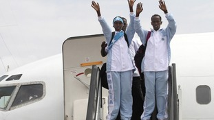 The Somali Olympic team arrives in London ahead of the Olympics.