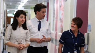 Labour leader Ed Miliband and shadow health minister Liz Kendall visit Airedale Hospital maternity ward in Keighley, Yorkshire.