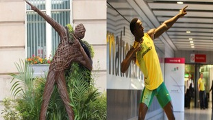 LEFT - Wicker sculpture in Victoria Square, RIGHT - Waxwork of Bolt's pose at Heathrow Airport