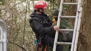 Protester being evicted from Stapleton allotments