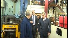 Ukip leader Nigel Farage visiting hinge manufacturer NICO in Clacton, Essex.