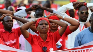 """""""#Bring Back Our Girls"""" campaigners participate in a lamentation parade."""