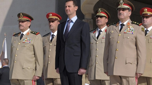 President Assad with senior military officials including General Rajiha