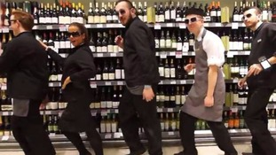 Waitrose staff performing Uptown Funk in their South London store