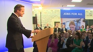 David Cameron delivering his manifesto pledges
