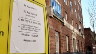 New parking restrictions have been put in place in front of the Lindo Wing of St Mary's Hospital in Paddington west London, where the Duchess of Cambridge is due to give birth