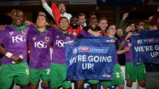 Bristol City celebrate promotion and a 6-0 win.