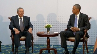 Cuban President Raul Castro with US President Barack Obama.
