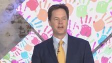 Nick Clegg at the Lib Dem manifesto launch.