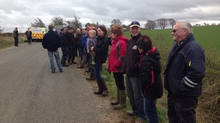 Protesters outside the farm near Appleby