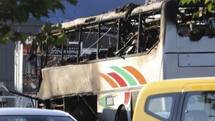 The mangled bus at the scene in Bulgaria.