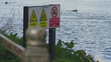 Safety signs on River Wear.