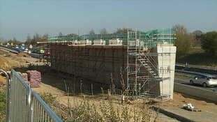 Construction of the new bridge over the A47.