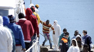 Migrants rescued by the Italian coast guard