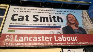 The billboard poster was in Carlisle but was for the Labour parliamentary candidate for Lancaster