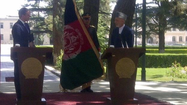 David Cameron and President Hamid Karzai hold a joint press conference in Afghanistan