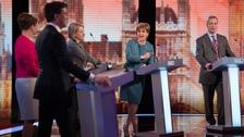 Ed Miliband, Leanne Wood, Natalie Bennett, Nicola Sturgeon and Nigel Farage before the debate.