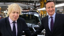 Prime Minister David Cameron and Mayor of London Boris Johnson at The London Taxi Company in Coventry