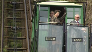 Princess Anne takes a ride on the cliff railway
