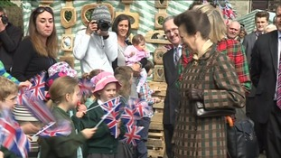 Princess Anne is cheered by the crowds