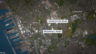a map of the Worcester and Brookhill Road areas of Bootle, Merseyside.