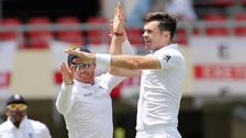 Jimmy Anderson celebrates his record-equalling strike