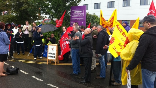Remploy workers striking in Stok-on-Trent