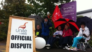 Remploy workers striking in Stoke-on-Trent